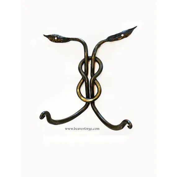 Celtic Double Coat Hook Hand Forged Wrought Iron by