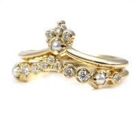 Diamond and Pearl Cluster Engagement Ring Set Modern Wedding
