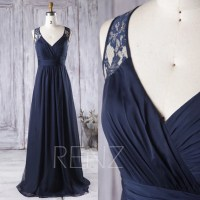 2017 Navy Blue Bridesmaid Dress Long V Neck Wedding Dress