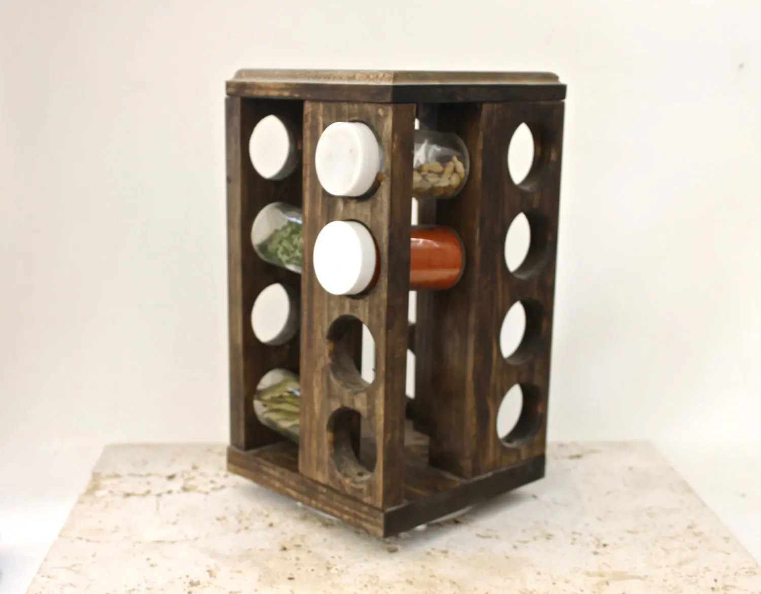 revolving spice racks for kitchen countertop ideas cheap rotating rack rustic woodspice by arrayanddisplay