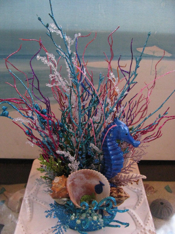 Seahorse Coral Reef Glitter CenterpieceBeach Wedding