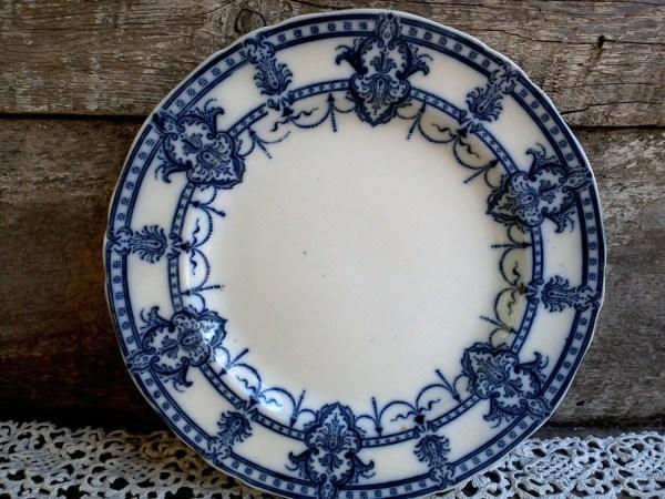Antique Flow Blue Dinner Plate Ironstone