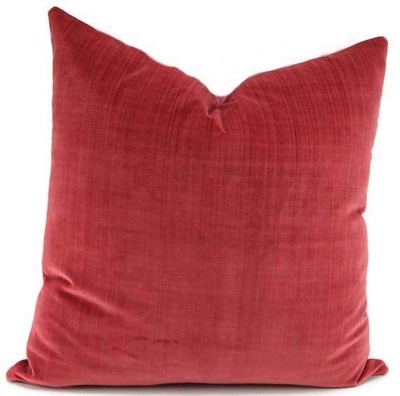 Soft Aged Red Velvet Pillow Cover Washed Red Velvet Pillow