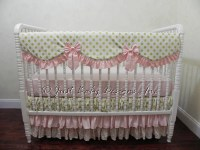 Girl Baby Crib Bedding Set Carissa Pink and Gold Baby