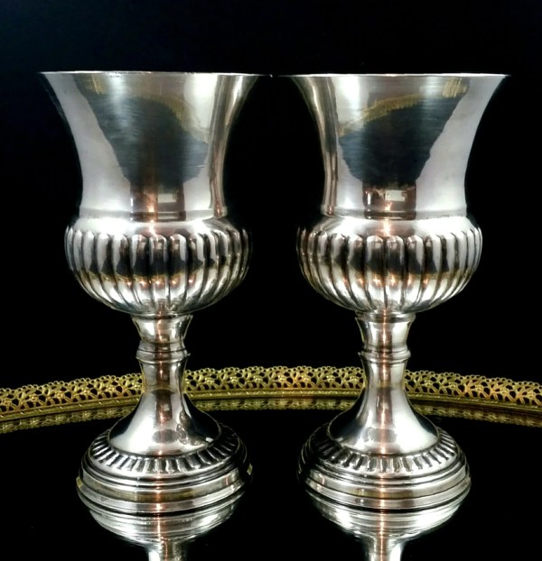 English Antique Wine Goblets Silver Plated Chalice Set Gothic