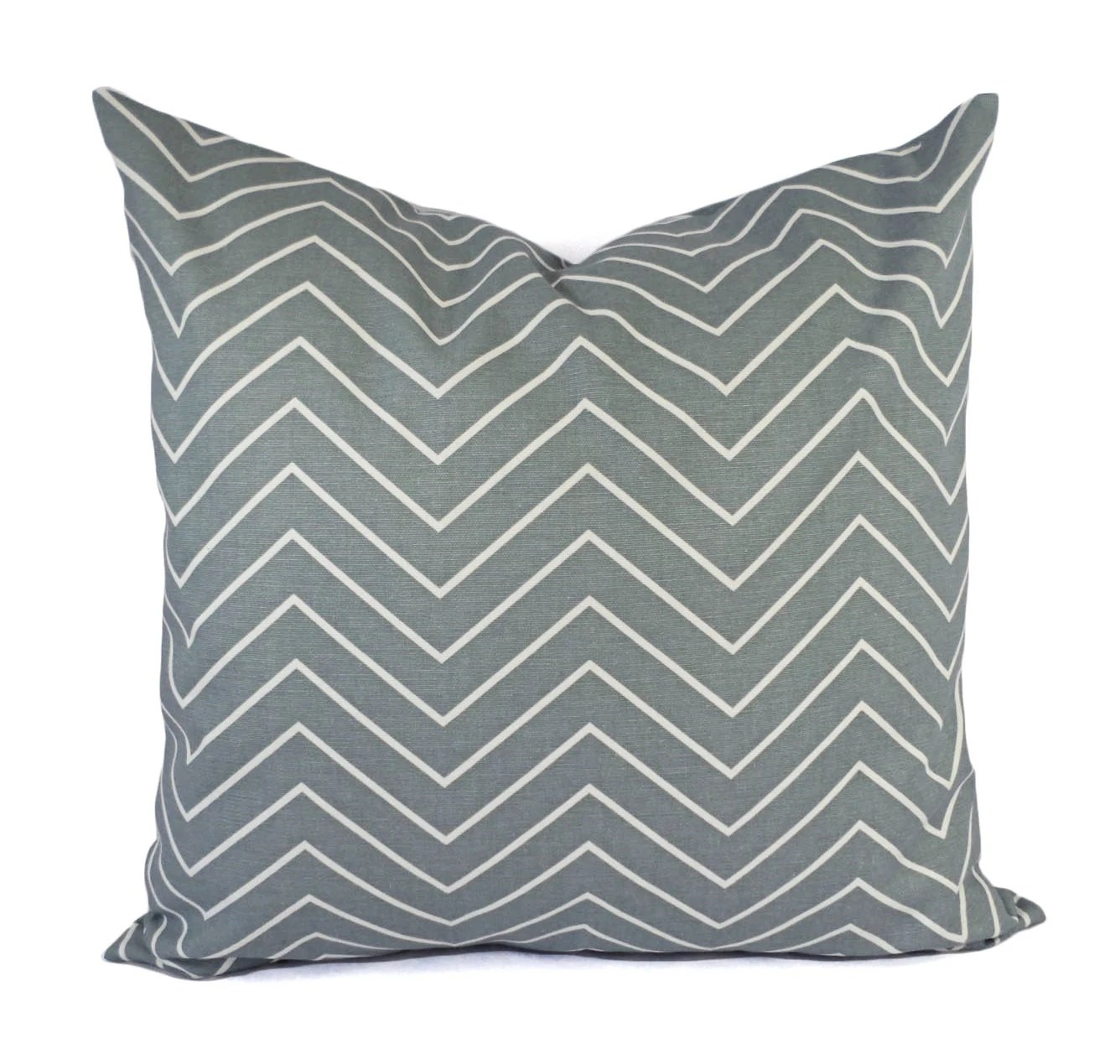 Two Pillow Covers Blue Grey Throw Pillows Chevron Pillow