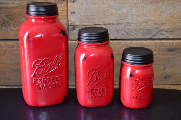 mason jar canister set kitchen Red Kitchen Canister Set Painted mason jar by