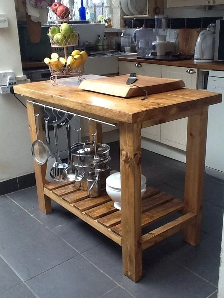 rolling kitchen island with seating used appliances handmade rustic island/butchers block delivery charge
