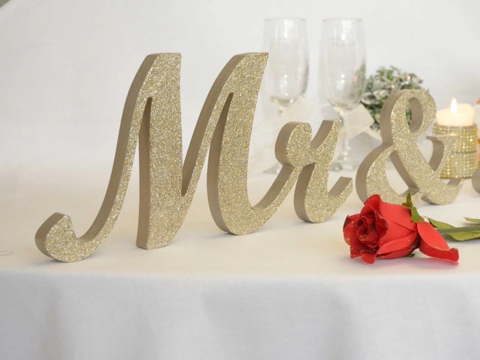 Champagne Glitter Mr. & Mrs. Letters Wedding Table
