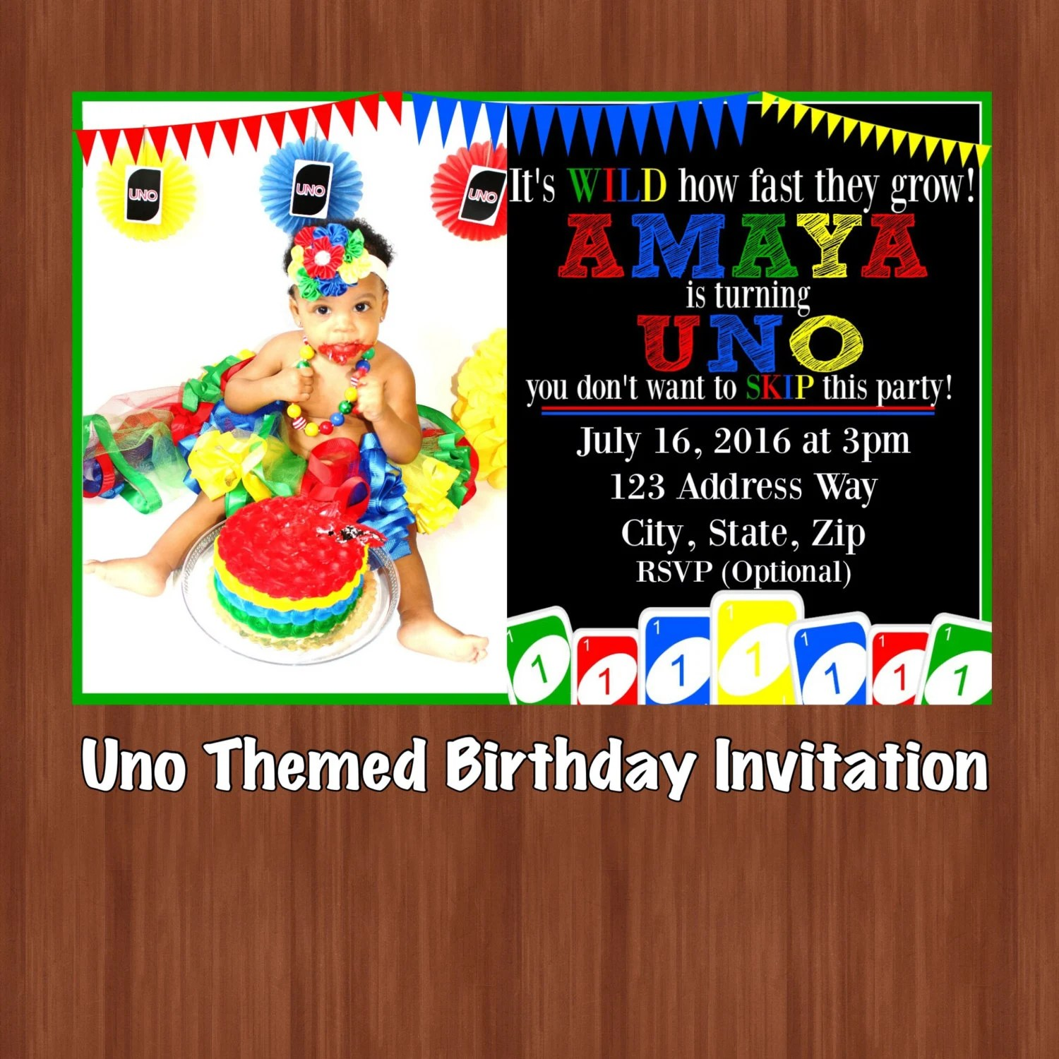 UNO Themed Birthday Party Invitation UNO One Year Old