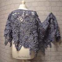 Shawl. Shroud. Stoles scarf shawl Irish crochet. Flowers.
