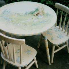 Painted Table And Chairs Floral Upholstered Chair Hand Set Children 39s