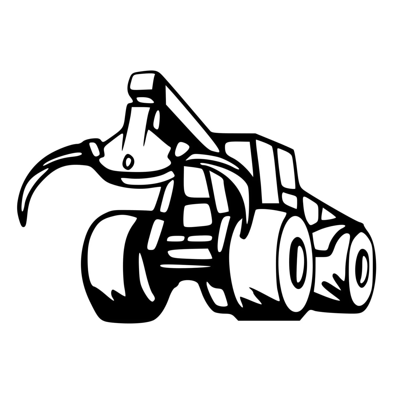 Log Skidder Clip Art Sketch Coloring Page