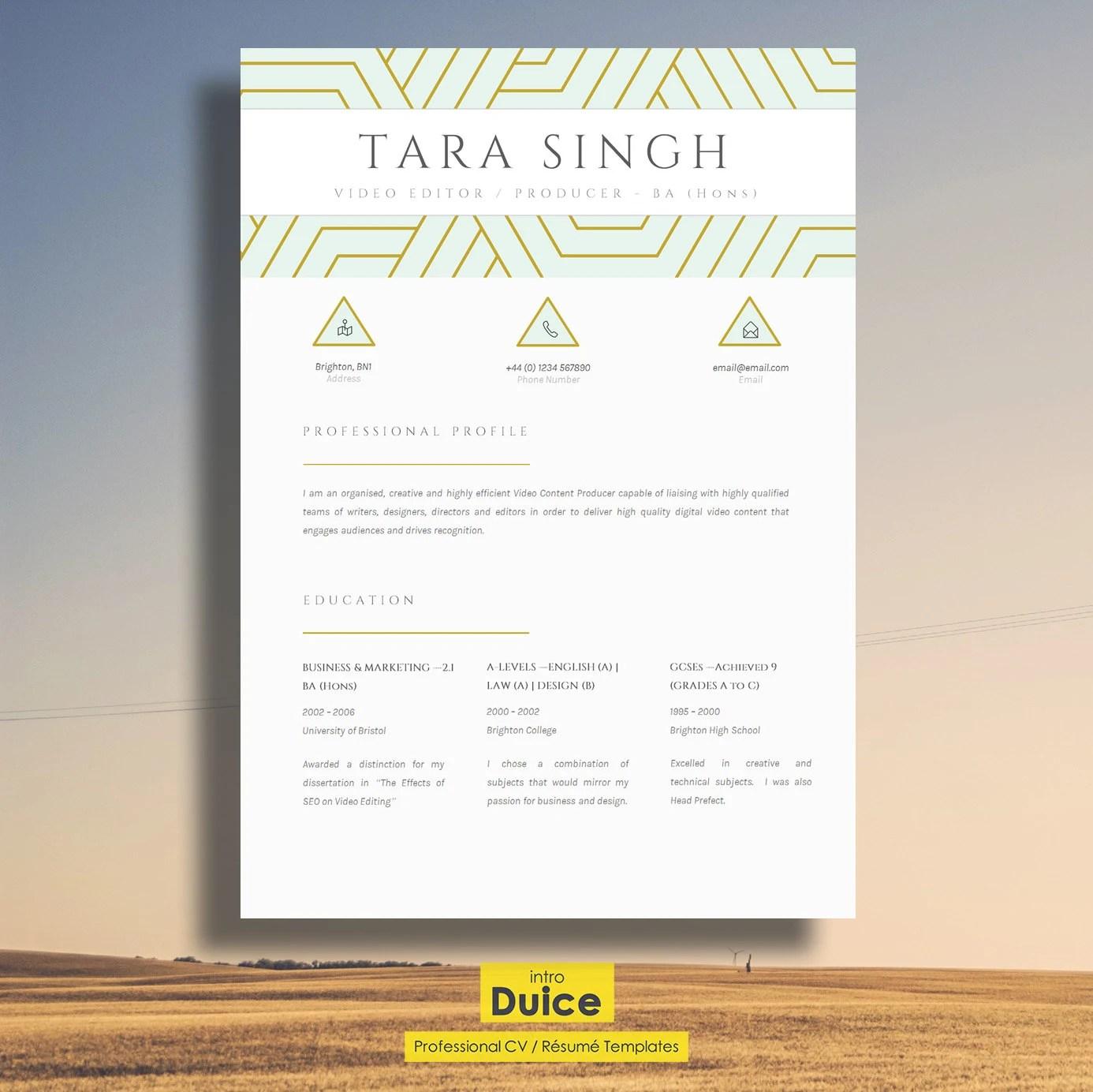 Resume Elegant Resume Design Creative CV Design Cover