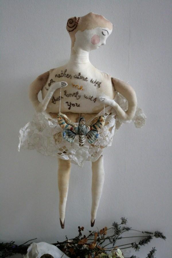 With . Ooak Lovelorn Soft Sculpture Textile Art Doll