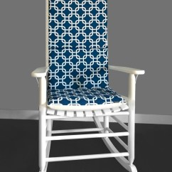 Navy And White Chair Hanging Sky Squares Rocking Cushion Cover