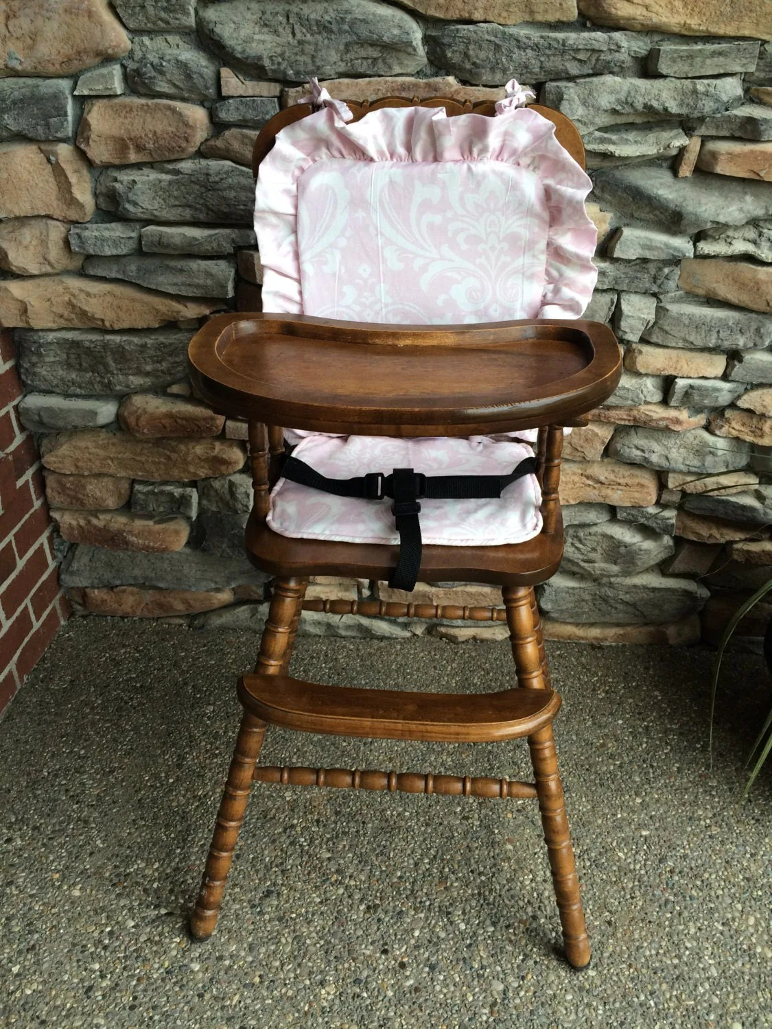 wooden high chair cushion dining covers edmonton highchair cover pad baby pink for