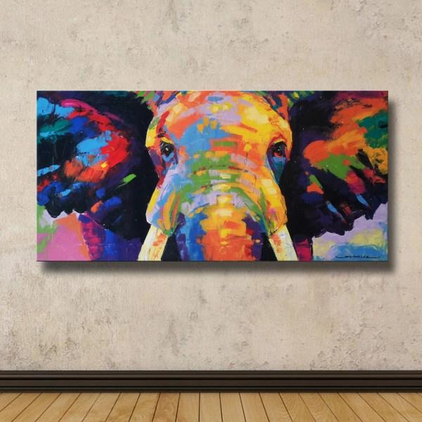 Colorful Elephant Painting 40cmh X 80cmw
