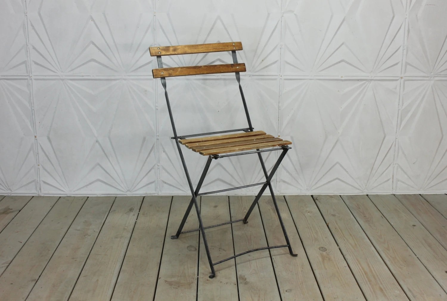 French Bistro Chair Vintage French Bistro Chair Folding Wood Metal Side Rustic