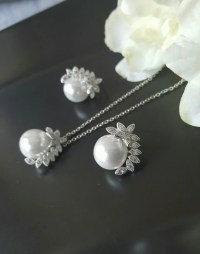 Pearl Jewelry Sets Wedding Necklace and Earrings Set