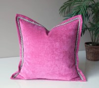 Pink Velvet Throw Pillow Cover Solid Throw by OneHappyPillow