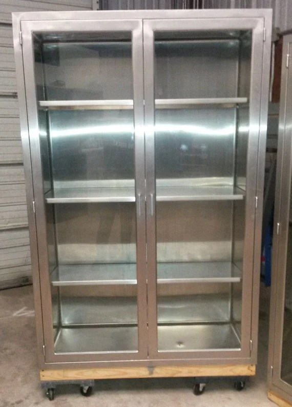 Vintage Medical Stainless Steel Cabinet Used in Hospital OR