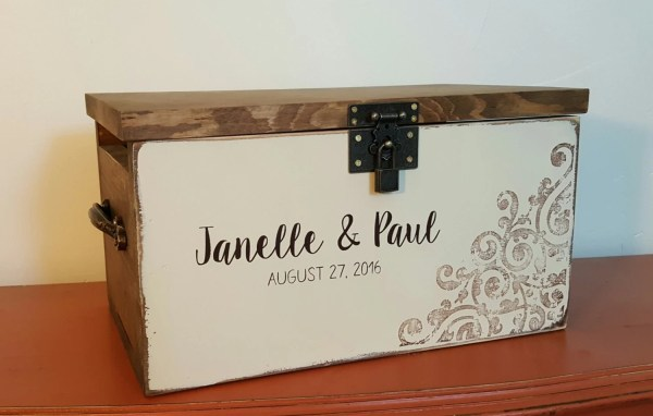 Locking Wedding Keepsake Box Card Rustic