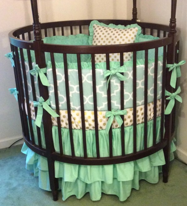 Crib Bedding Set Mint And Gold Butterbeansboutique