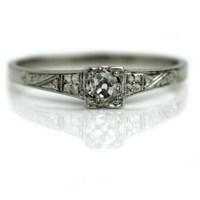 Antique Platinum Engagement Ring Antique Promise Ring