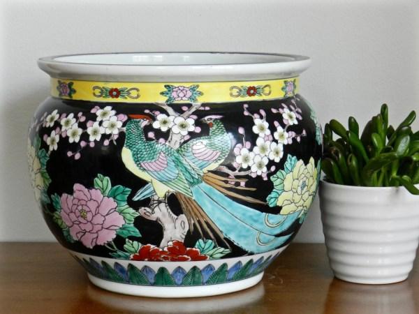 Large Asian Fishbowl Planter Famille Noire Fish Bowl Cachepot