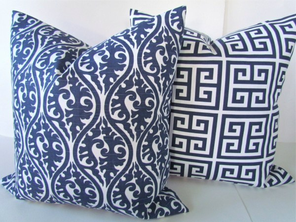 BLUE THROW PILLOWS Navy Blue Pillow Covers by SayItWithPillows