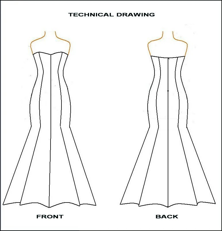 PDF Sewing Pattern- Strapless Mermaid Dress from Woven