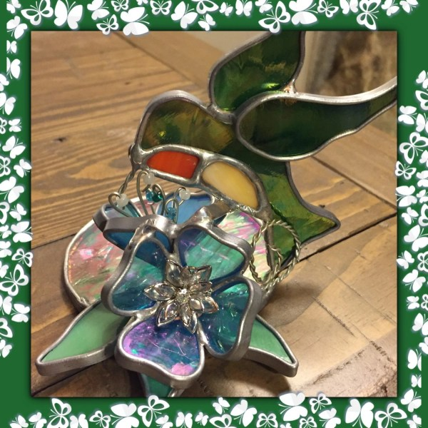 Hummingbird Votive Candle Holder Stained Glass