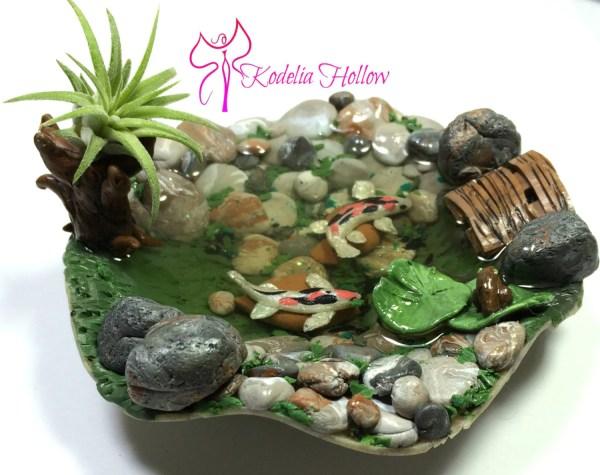 koi pond polymer clay dollhouse