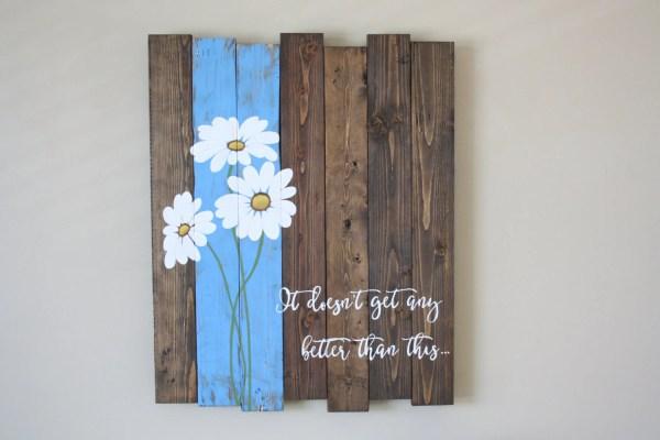 Reclaimed Wood Wall Art Pallet Daisy
