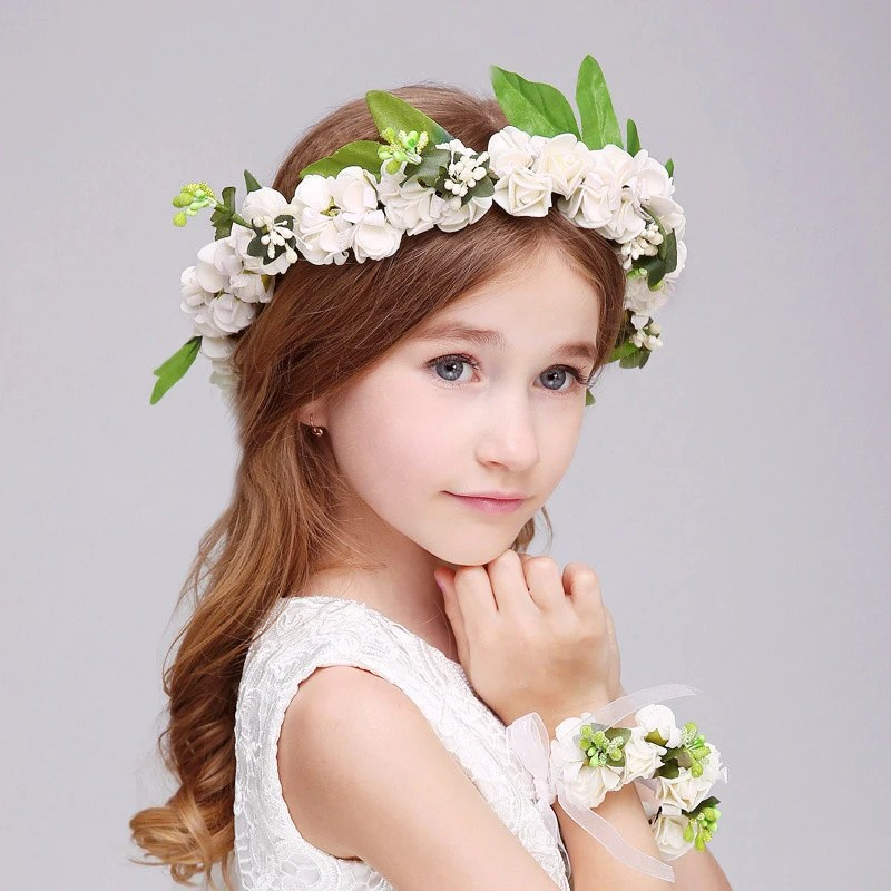Handmade Fancy Flower Girl Crown And Bracelet Kids Flower