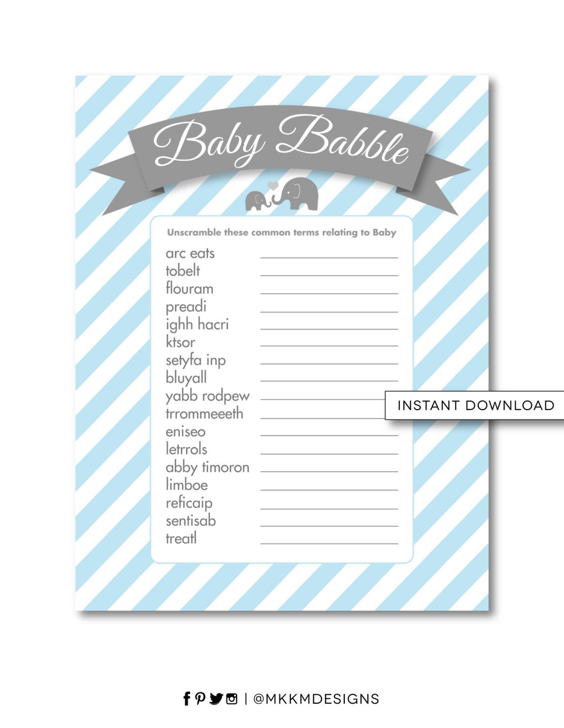Elephant Word Scramble Baby Babble Game Elephant Baby Shower