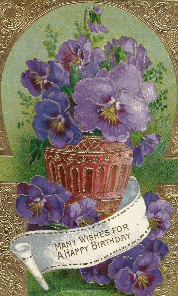 Vintage Floral Purple Flowers Violets Birthday Card Postcard