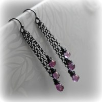 Pink Topaz Earrings Pink Topaz Dangle Earrings Mystic Pink