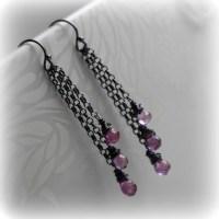 Pink Topaz Earrings Pink Topaz Dangle Earrings Mystic Pink