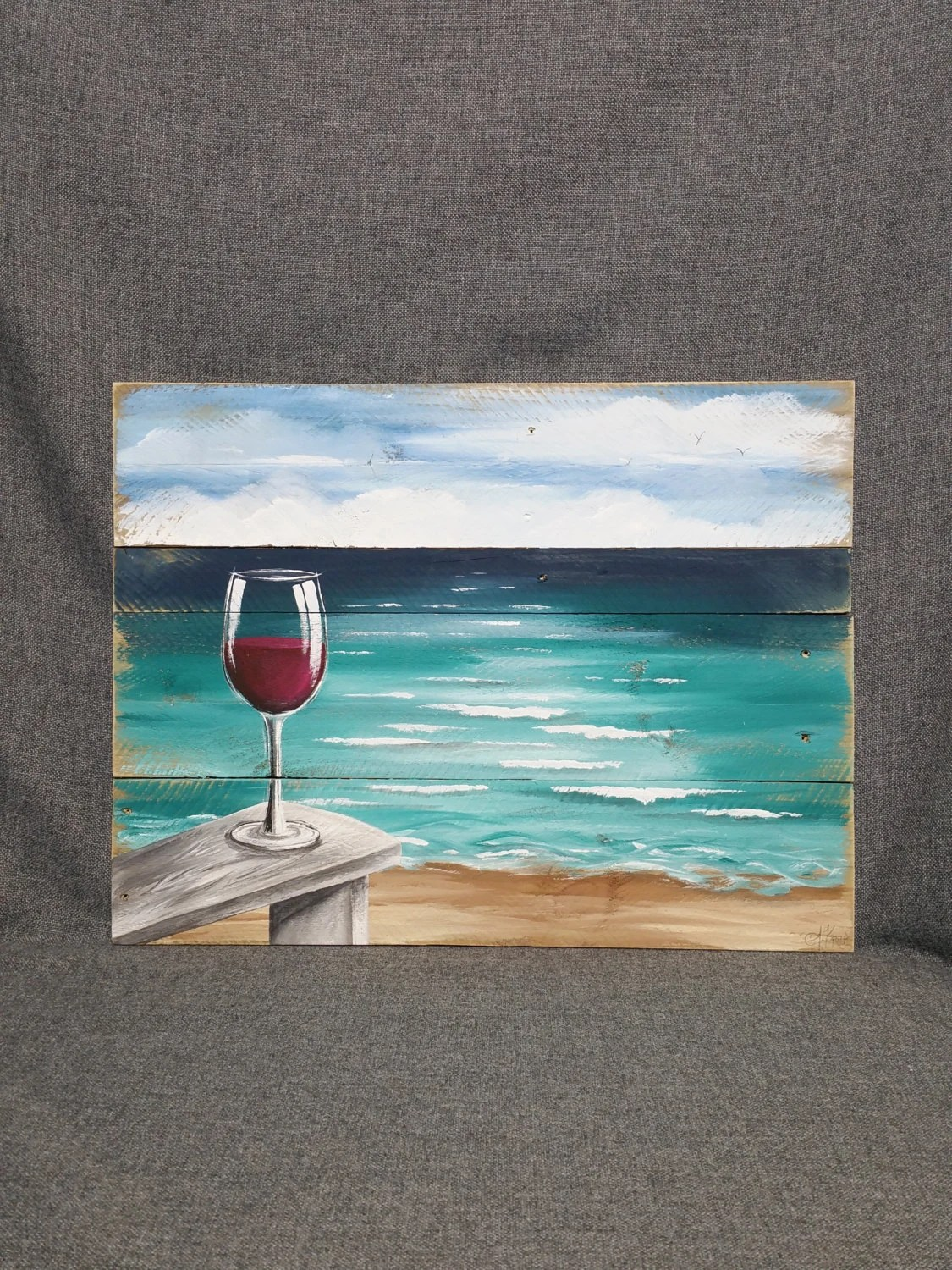 canvas beach chair contemporary red dining chairs pallet wood wine painting ocean wall art