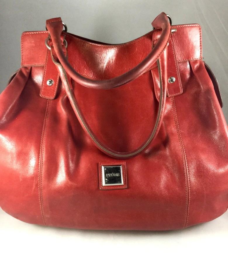Red Leather Shoulder Bag ...