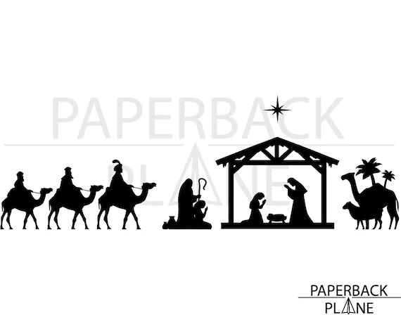 Download Nativity Scene SVG PNG DXF Cut Files for use with Silhouette