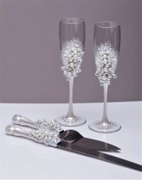 Personalized wedding flutes and cake server set White Wedding