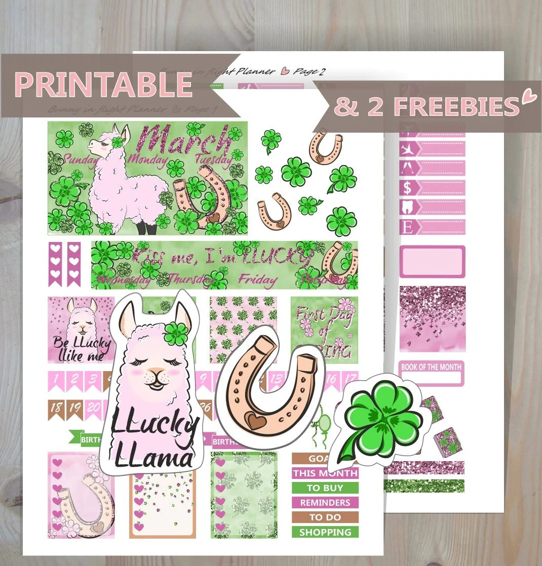 March Monthly Sticker Kit March Printable Monthly Sticker Kit March Happy Planner Printable