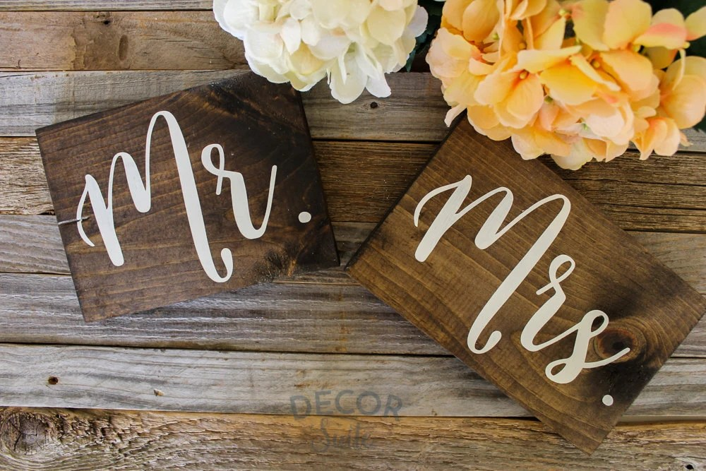 Mr And Mrs Wooden Sign Rustic Wedding Decor Wooden By