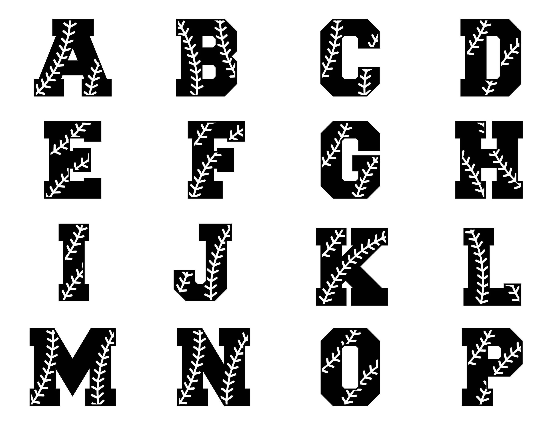 Baseball alphabet svg, Baseball font, Softball font