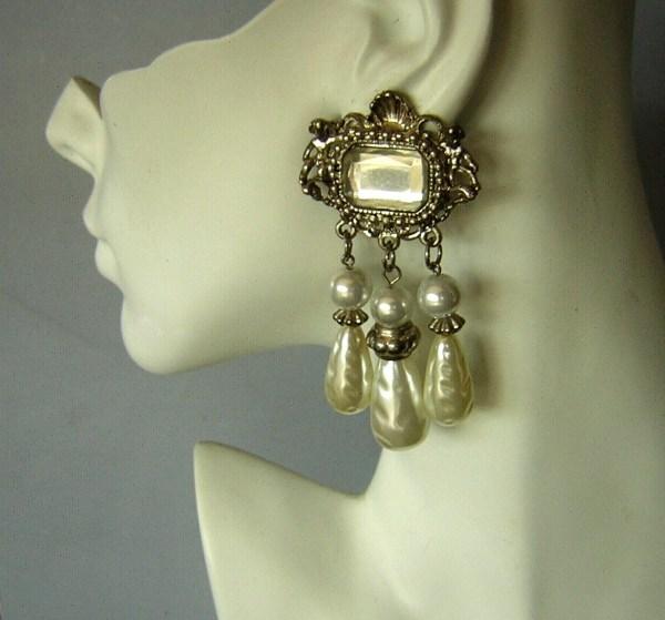 Vintage Earrings Big Faux Pearl Dangles Ornate Baroque Clip