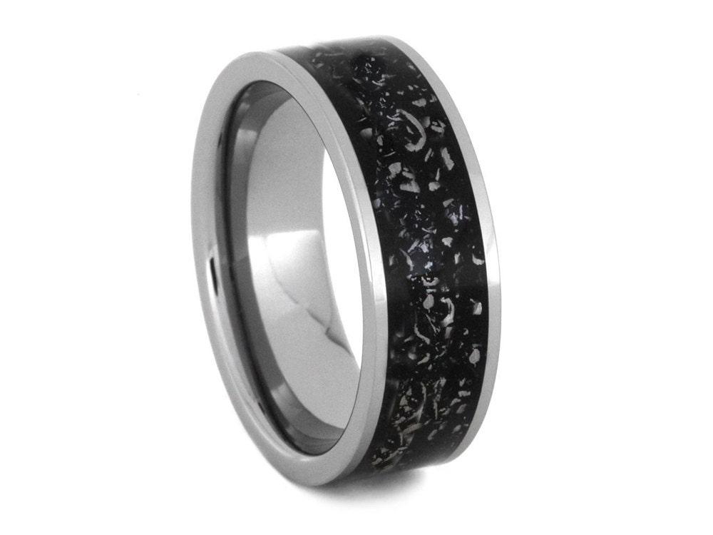 Meteorite Ring Stardust Titanium Ring Alternative Wedding