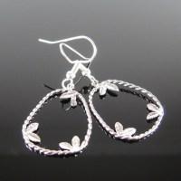 Silver petal earrings surgical Steel nickel free for
